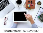 businessman hand holding tablet ... | Shutterstock . vector #578690737