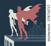 super heroes atop a skyscraper. ... | Shutterstock .eps vector #578710717