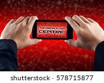 hand holding smart phone with... | Shutterstock . vector #578715877
