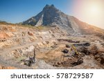 opencast mining quarry with... | Shutterstock . vector #578729587