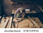 handsome joiner work in... | Shutterstock . vector #578729953