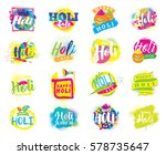 happy holi  indian festival of... | Shutterstock .eps vector #578735647