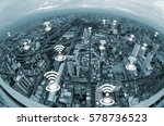 wifi icon above cityscape and... | Shutterstock . vector #578736523