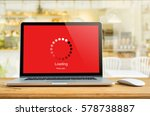 laptop on table with loading... | Shutterstock . vector #578738887