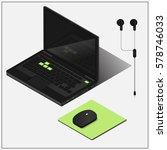 isometric vector set  laptop ...