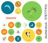 summer and beach simple flat... | Shutterstock .eps vector #578777953