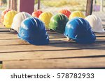 colorful hard hat. safety... | Shutterstock . vector #578782933