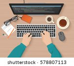 developer working at computer.... | Shutterstock .eps vector #578807113