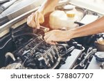 mechanic car service in garage... | Shutterstock . vector #578807707