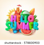 hello summer text banner design ... | Shutterstock .eps vector #578830903