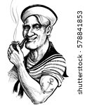 retro sailor with smoking pipe | Shutterstock . vector #578841853