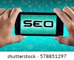 hand holding smart phone with... | Shutterstock . vector #578851297