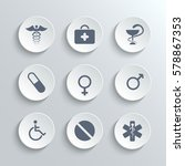 medical icons set   white round ... | Shutterstock . vector #578867353