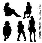 vector  silhouette  teen ... | Shutterstock .eps vector #578867443