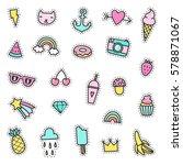 vector hand drawn pins.... | Shutterstock .eps vector #578871067
