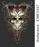 skull with wings and patterned... | Shutterstock .eps vector #578871517