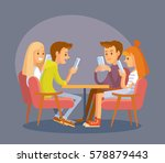 group of friends with smart... | Shutterstock .eps vector #578879443