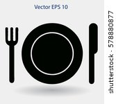 flat plate fork and knife icon | Shutterstock .eps vector #578880877