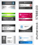 Set of 8 metallic themed business card templates | Shutterstock vector #57888103