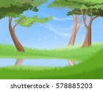 lake in nature vector nature... | Shutterstock .eps vector #578885203