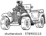 vector   retro  hot rod with... | Shutterstock .eps vector #578903113