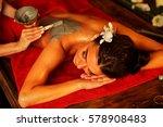 mud mask of woman in spa salon. ... | Shutterstock . vector #578908483
