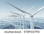 white wind turbine generating... | Shutterstock . vector #578910793