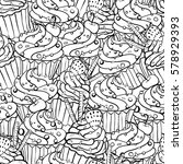 seamless pattern in doodle... | Shutterstock .eps vector #578929393