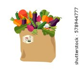 paper bag with healthy foods ... | Shutterstock .eps vector #578944777