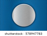 Metal Round Plate On Blue...