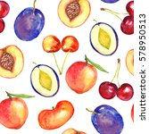 peaches  cherries and plums... | Shutterstock . vector #578950513
