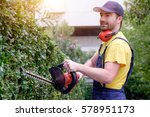 Gardener Using An Hedge Clippe...