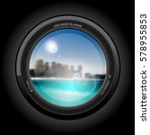 lens view  beautiful cityscape...   Shutterstock .eps vector #578955853