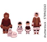 eskimo  inuit family of father  ... | Shutterstock .eps vector #578963263