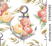 nautical anchor and floral... | Shutterstock . vector #578969083