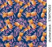 watercolor tropic seamless... | Shutterstock . vector #578974003