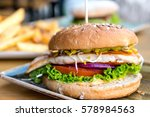 cheese burger   american cheese ... | Shutterstock . vector #578984563