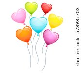 color glossy hearts balloons...   Shutterstock .eps vector #578985703