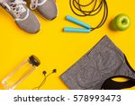 fitness accessories on yellow... | Shutterstock . vector #578993473