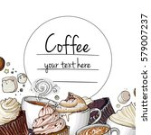 coffee cup line drawing on a... | Shutterstock .eps vector #579007237