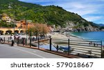 beach at monterosso al mare ...   Shutterstock . vector #579018667