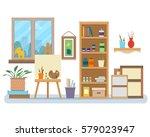 art studio interior. creative... | Shutterstock .eps vector #579023947