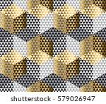Gold And Black Geometry Hexago...