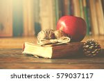old vintage book on wooden... | Shutterstock . vector #579037117