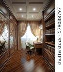 home office interior design in... | Shutterstock . vector #579038797