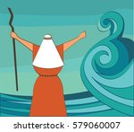 mozes splitting the red sea and ... | Shutterstock .eps vector #579060007
