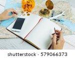 bloger planning budget of trip...   Shutterstock . vector #579066373