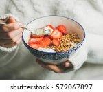 healthy breakfast greek yogurt  ... | Shutterstock . vector #579067897