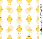 pattern with little chickens   Shutterstock .eps vector #579069973