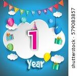 1st anniversary celebration... | Shutterstock .eps vector #579083857